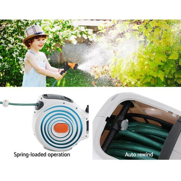 Greenfingers Retractable Hose Reel 30M Garden Water Brass Spray Gun Auto Rewind