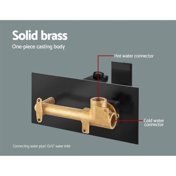 Cefito WELS Bathroom Tap Wall Square Black Basin Mixer Taps Vanity Brass Faucet