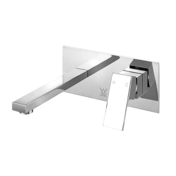 Cefito WELS Bathroom Tap Wall Square Silver Basin Mixer Taps Vanity Brass Faucet