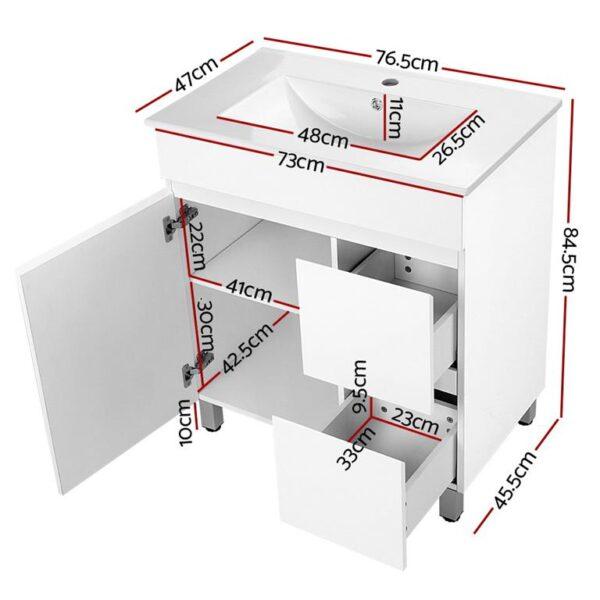 Cefito 750mm Bathroom Vanity Cabinet Unit Wash Basin Sink Storage Freestanding White